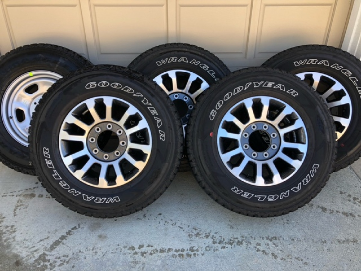 For Sale: 275/70R 18 Good Year Wrangler Tires / Ford Super Duty Wheels - photo0