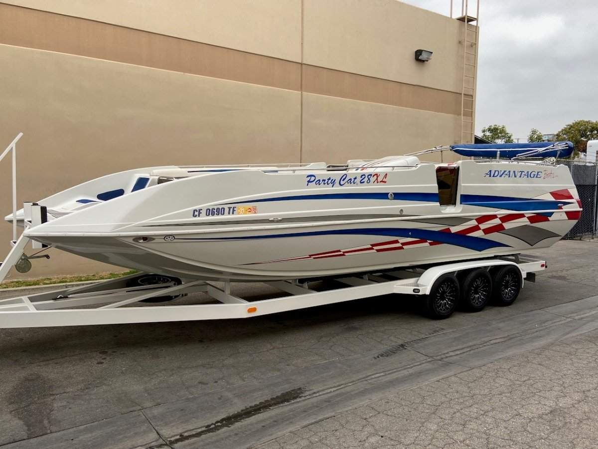 For Sale: 2003 Advantage 28 Party Cat XL Deck Boat Performance HO 496 Magnum Bravo 3 Drive Imco Dual Ram Hydraulic Steering  - photo0